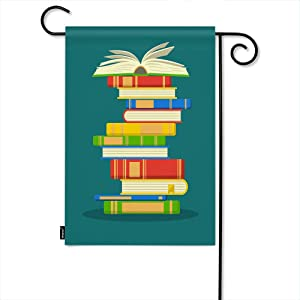 Moslion Book Garden Flag Open Books School Education Library Knowledge Study Home Flags 12x18 Inch Double-Sided Banner Welcome Yard Flag Outdoor Decor. Lawn Villa
