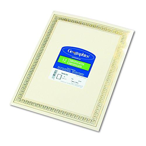 "Geographics Flourish Premium Certificates (Gold Foil),8.5 x 11"", 12/Pack (45492)"