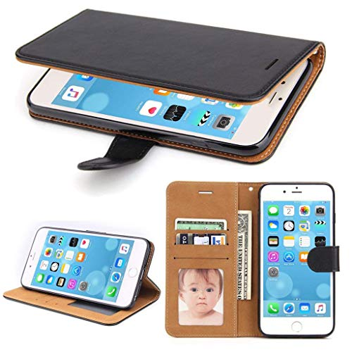 SOWOKO iPhone 8 Leather Flip Case [Book Style] iPhone 7 Wallet Case [Stand Feature] Credit Card Slots ID Holder Shockproof Protective Phone Cover for Apple iPhone 8 & iPhone 7 (Black) ()