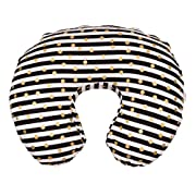 Maternity Breastfeeding Pillow Cover by Danha-Newborn Baby Feeding Cushion Case-Cute Donut Shape Wedge Pillow-Best Infant Support-for New Moms- Gold dot & Stripe Prints Slipcover-Breathable Fabric
