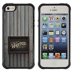 Be-Star único patrón Impacto Shock - Absorción y Anti-Arañazos Funda Carcasa Case Bumper Para Apple iPhone 5 / iPhone 5S ( Wasted Drunk Alcohol Gold Frame )