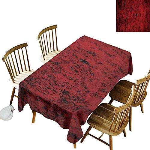 W Machine Sky Waterproof Tablecloth Red and Black Pillow Sham Artistic Abstract Pattern with Grungy Distressed Look and in Vintage Style W60 xL84 for Family Dinners,Parties,Everyday Use ()