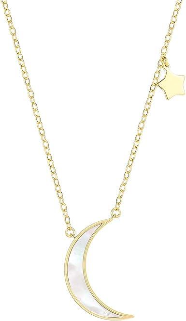 New Beautiful Simple Moon Shape Multi Color Shell Adjustable Necklace Pendant