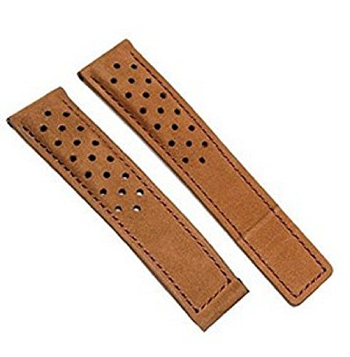22mm Brown Brushed Leather Watch Strap band compatible with Deployment ()