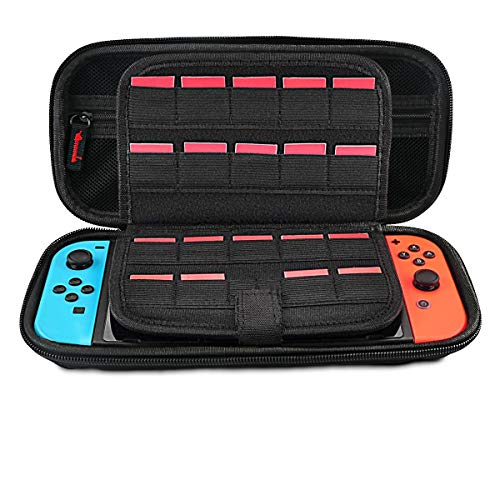 Leyeet Carrying Case for Nintendo Switch Portable Travel Case with 20 Game Cartridge Protective Hard Shell Pouch for Nintendo Switch Console & Accessory (Black Zipper)