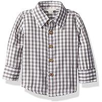 Burt's Bees Baby - Baby Boys Button Down Shirt, Long Sleeve Button-Up Plaid Shirts, 100% Organic Cotton