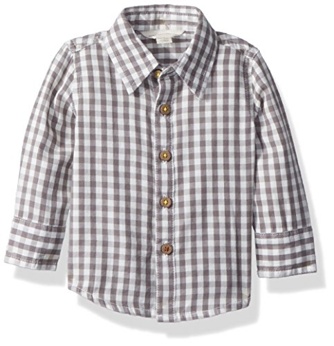 Burt's Bees Baby Baby Boys' Gingham Button Front Shirt, Charcoal, 0-3 Months (Front Gingham Shirt)