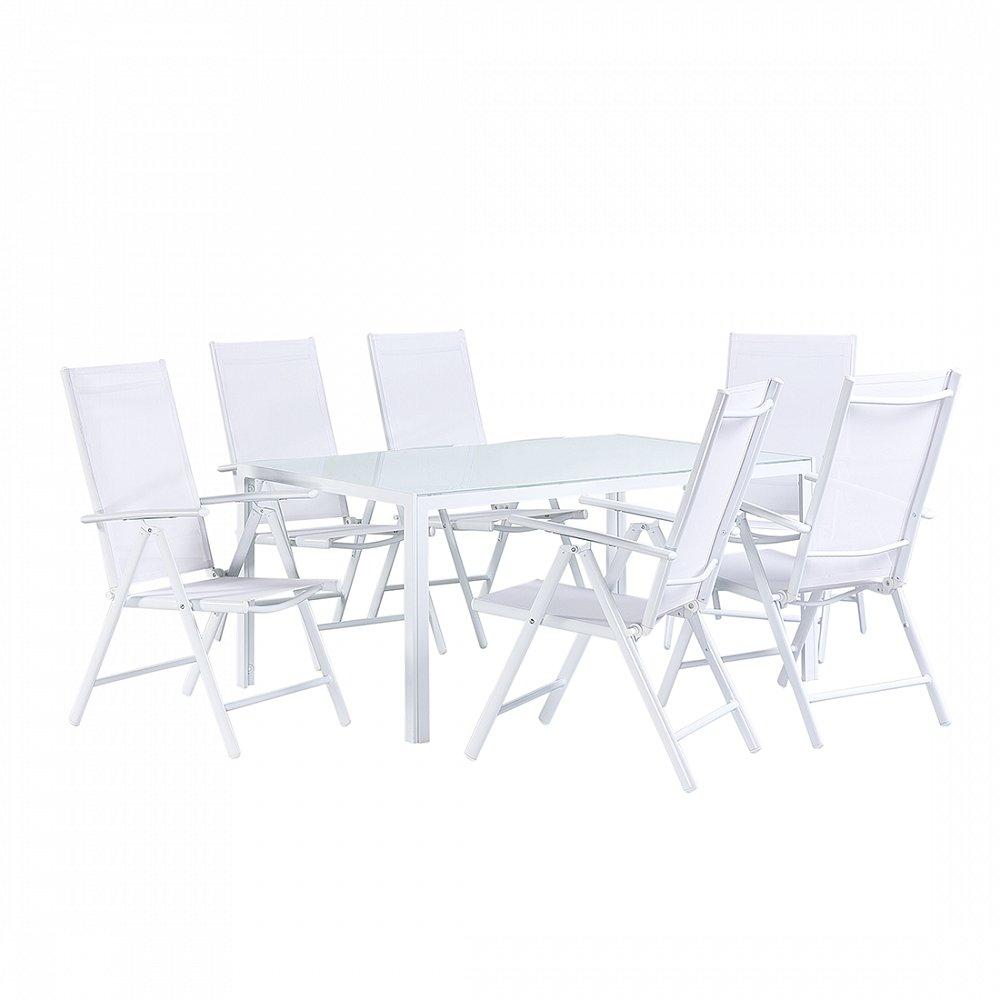 Gartenmöbel Set Weiss - Tisch 160 cm - 6 Stühle – Aluminium ...