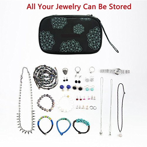 Suzanne George Travel Jewelry Organizer Case, Jewelry Storage Bag Earring Necklace Pouch for Women,Black by Suzanne George (Image #5)