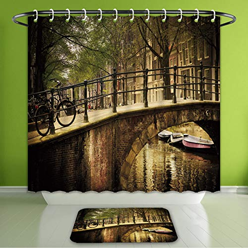 Waterproof Shower Curtain and Bath Rug Set Apartment Decor Romantic Bridge Over Canal in Amsterdam Netherlands European Famous Northern Ci Bath Curtain and Doormat Suit for Bathroom 72