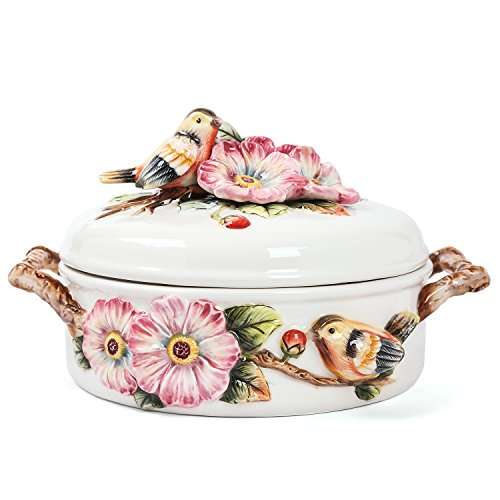 FORLONG FL7002 Ceramic Flowers and Bird Cookie Candy Jars with Lid, Sweets, Chocolate, Candies, and Confection Keeper Jars | Gift Ideas, Decoration, Collection, Party Favors Jar,10-Inch ()