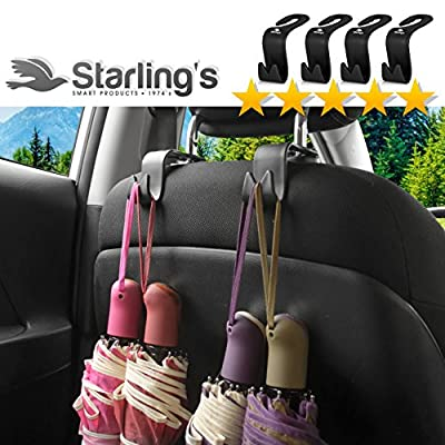 Starling's Headrest Hooks for Car - Back Seat Organizer Hanger Storage Hook, Car SUV(Set of 4) Black, Purse Hook for Car Handbag Clothes Umbrellas Coats Grocery Bags & More!: Home Improvement