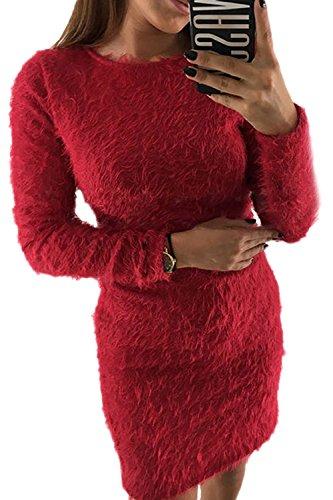 Rojo Lápiz Parte Vestido Elegante De Invierno Mujer La Mohair Pullover Imitacion Mini wx4ffq