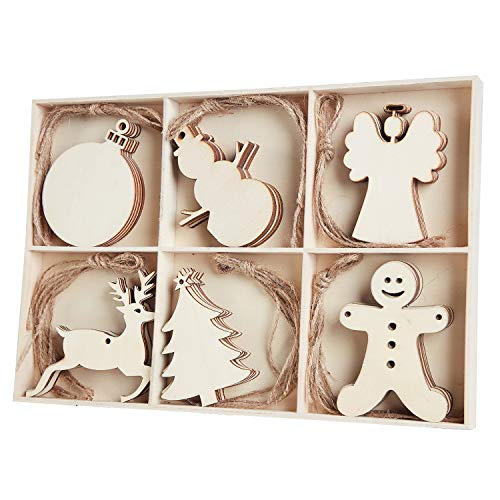 30pcs Unfinished Wood Christmas Ornaments with Holes - Angel, Deer, Ball, Doll, Snowman, Christmas Tree Cutouts