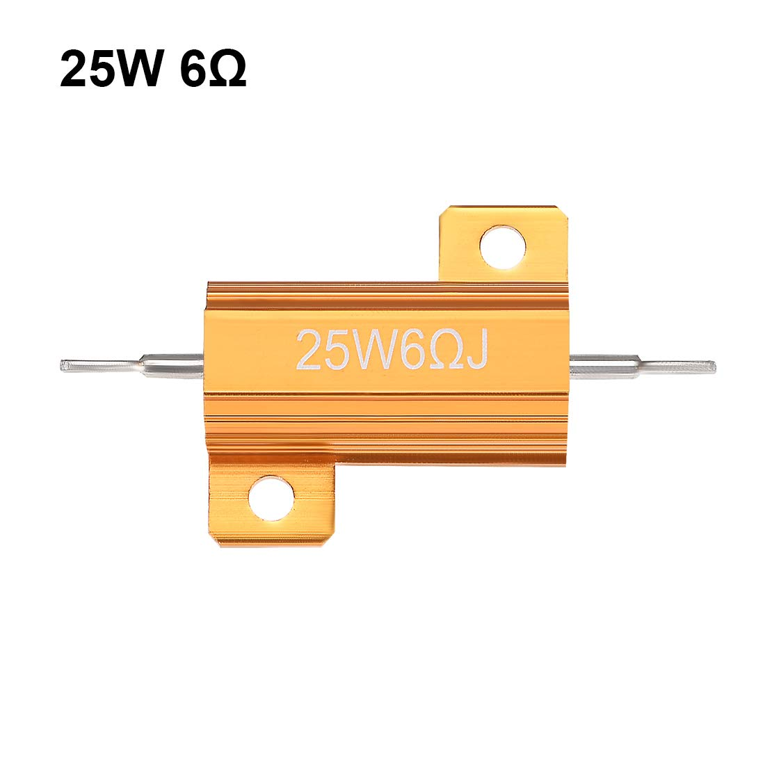 sourcingmap 25W 0.1 Ohm 5/% Aluminum Housing Resistor Screw Tap Chassis Mounted Aluminum Case Wirewound Resistor Load Resistors Gold Tone 5 Pcs