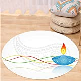 VROSELV Custom carpetDiwali Decor India Religious Festive Fire Candle Image with Modern Paisley Backdrop Print for Bedroom Living Room Dorm Multicolored Round 79 inches