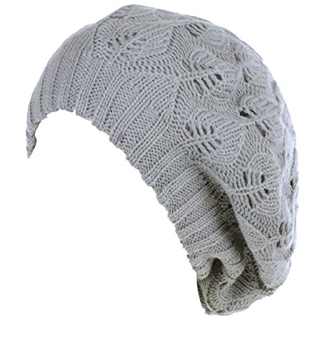 - BYOS Winter Chic Warm Double Layer Leafy Cutout Crochet Knit Slouchy Beret Beanie Hat (Light Gray Leafy)