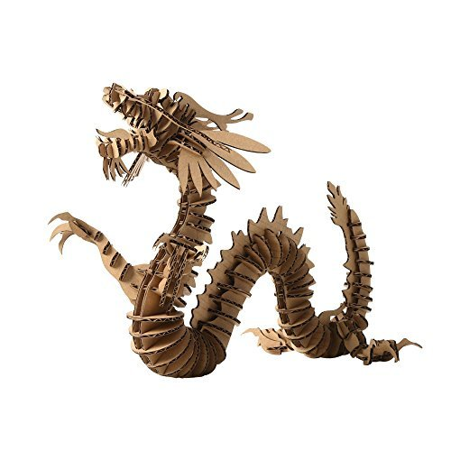 Paper Maker 3D Jigsaw Puzzle Dragon DIY Craft Gifts Home Decoration (Small, (Adult Brown Dragon)
