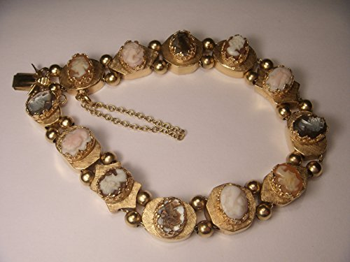 Magnificent Antique 14K Opal Coral Carnelian Tiger Eye Cameo Slide (14k Coral Bracelet)
