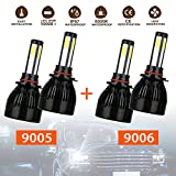 9005+9006 Combo 4 Sides CREE LED Headlights Conversion Kit Total 160W 16000LM High/Low Beam, 2 Sets 9005 HB3 9006 HB4 Headlight Bulbs COB Chips IP67 Waterproof 6000k
