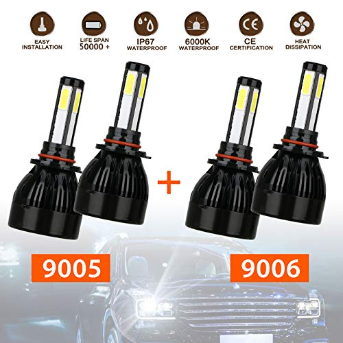 90059006-Combo-4-Sides-CREE-LED-Headlights-Conversion-Kit-Total-160W-16000LM-HighLow-Beam-2-Sets-9005-HB3-9006-HB4-Headlight-Bulbs-COB-Chips-IP67-Waterproof-6000k