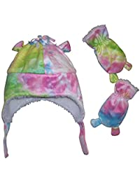 N'Ice Caps Girls and Toddler/Baby/Infants Tye Dye Soft Velboa Hat and Mitten Set
