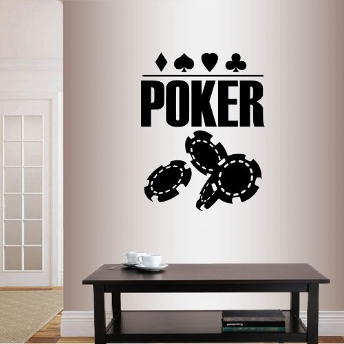 Wall Vinyl Decal Home Decor Art Sticker Poker Sign Chips Cards Suits Casino Room Removable Stylish Mural Unique Design ()