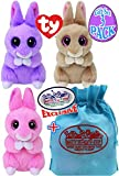 "TY Basket Beanies 2018 Easter Collection 5"" Bunnies Jasper (Pink), April (Purple) & Ginger (Beige) Complete Gift Set Basket Bundle with Bonus ""Matty's Toy Stop"" Storage Bag - 3 Pack"