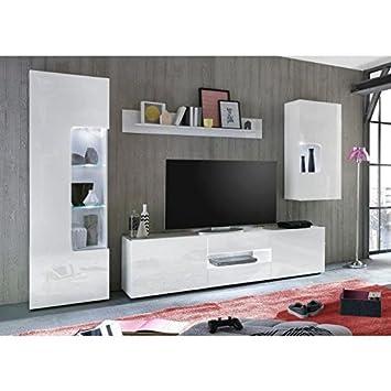 Leo Meuble Tv Mural Led Contemporain Laqué Blanc Brillant L 235 Cm