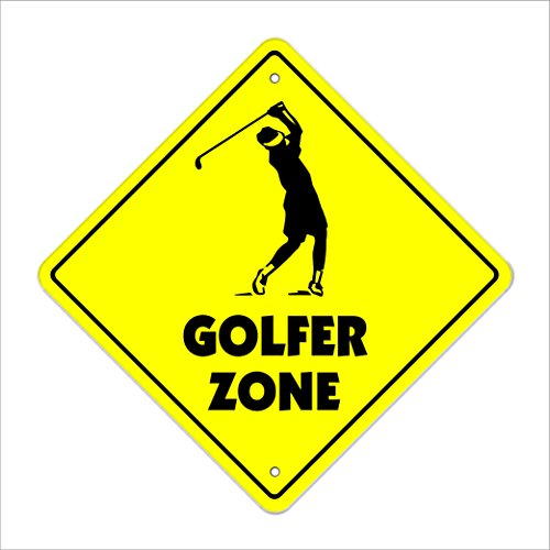 Golfer Crossing Sign Zone Xing | Indoor/Outdoor | 14