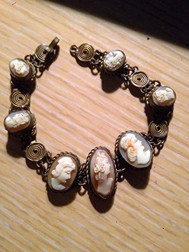 Genuine 7 Shell Cameo Bracelet Hand Carved Vintage Filigree Brass Artesian Hand Worked Wire Wrapped Bracelet w/ 7 Diffferent Cameos! OOAK ()