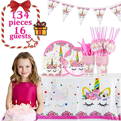 Unicorn Party Supplies Birthday Party Set 134pcs Serves 16 Guests   Disposable & No Washing Up   Perfect Party Solution 100% Bio-Degradable Non-toxic Decoration Tableware Cutlery