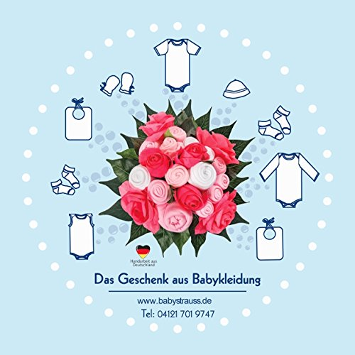 Taufe und Babyparty babystrauss M/ädchen gro/ß Babykleidung als Blumenstrau/ß zur Geburt das Original aus Deutschland