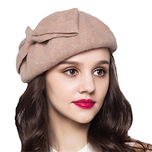 "Maitoseâ""¢ Women's Decorative Bow 100% Wool Beret Camel"