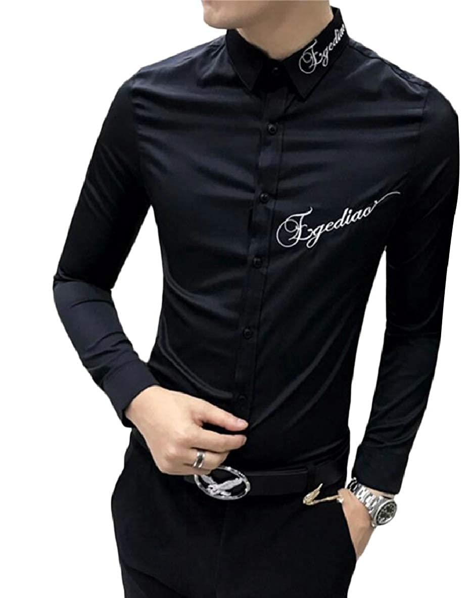 Tymhgt Mens Fashion Slim Embroidery Shirts Long Sleeve Button Down Dress Shirt