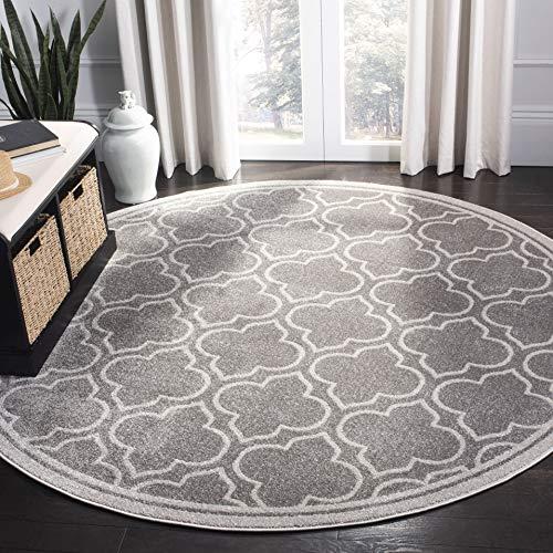 Safavieh Amherst Collection AMT412C Grey and Light Grey Indoor/ Outdoor Round Area Rug (5' Diameter) ()