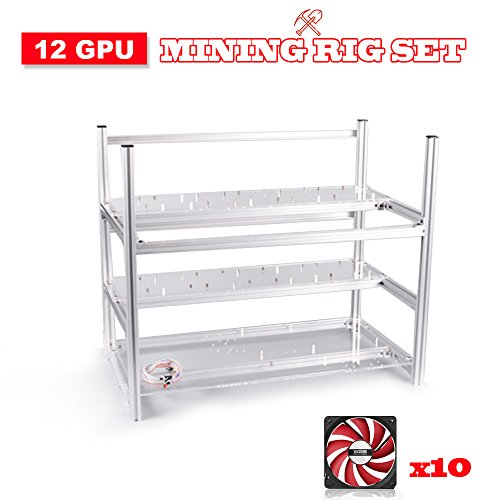 Leboo Air Mining Frame Rig Stackable Frame 12 GPU With 10 Fans For ETH BTC -Silver by Leboo