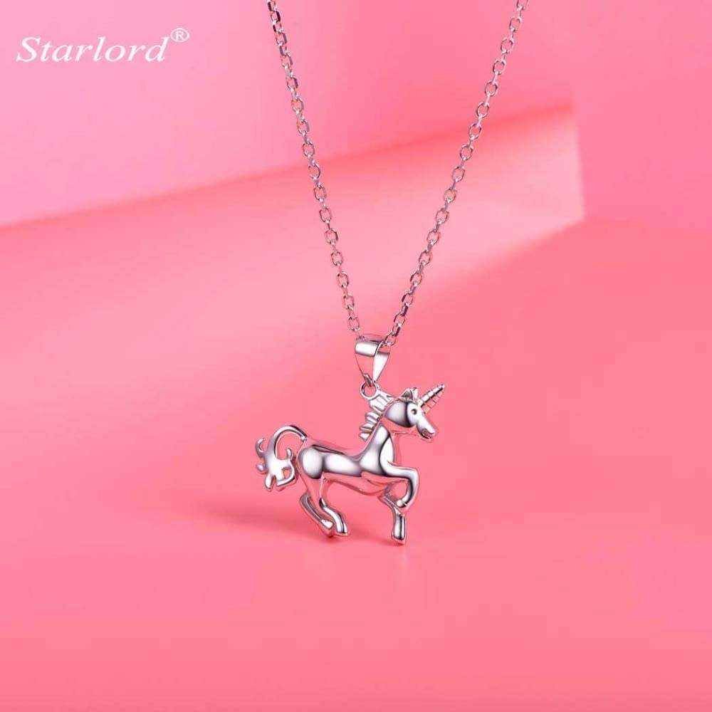 unicorn sterling silver charm necklace by little silver
