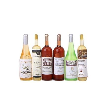 Upper Gran Cantidad de Decoración de Botellas de Vino en Miniatura 6Pcs para 1/12
