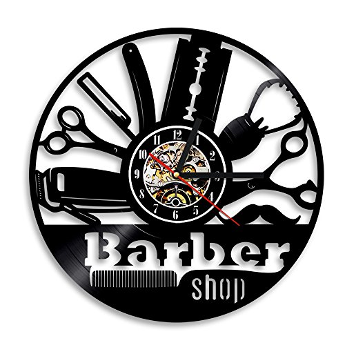 Barber Watch - Hairdresser Barber Shop Salon Vinyl Record Wall Clock Hairdressers, Stylists, Barbers, Hair Stylists- Elegant Beauty Salon Interior Wall Decor - Gift for a Hair Stylist