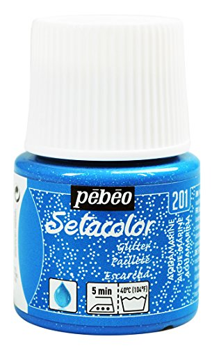 Pebeo Light Fabrics Glitter Setacolor Fabric Paint, 45ml, Aquamarine (Paint Light Aquamarine)