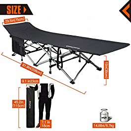 KingCamp Camping Cot Oversized for Adults 30″ Wide 440 lbs Capacity, XXL Heavy Duty Folding Sleeping Bed Aluminum Frame with 1200D Jacquard Oxford Fabric for Indoor & Outdoor