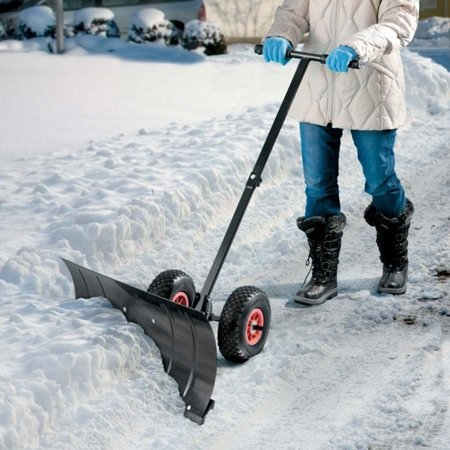 Heavy Duty Rolling Snow Shovel with Rotatable Steel Blade RED