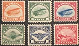 Scott C1 to C6 - US Airmail Stamp - 1918 - 6, 8, 16 & 24c Curtise Jenny, Wooden Prop, Air Emblem, DeHavilland Biplane - 6 Single Stamps