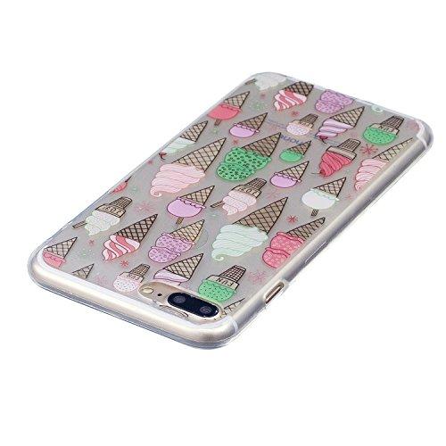 Coque iPhone 8 Plus Glace délicieuse Premium Gel TPU Souple Silicone Transparent Clair Bumper Protection Housse Arrière Étui Pour Apple iPhone 8 Plus + Deux cadeau