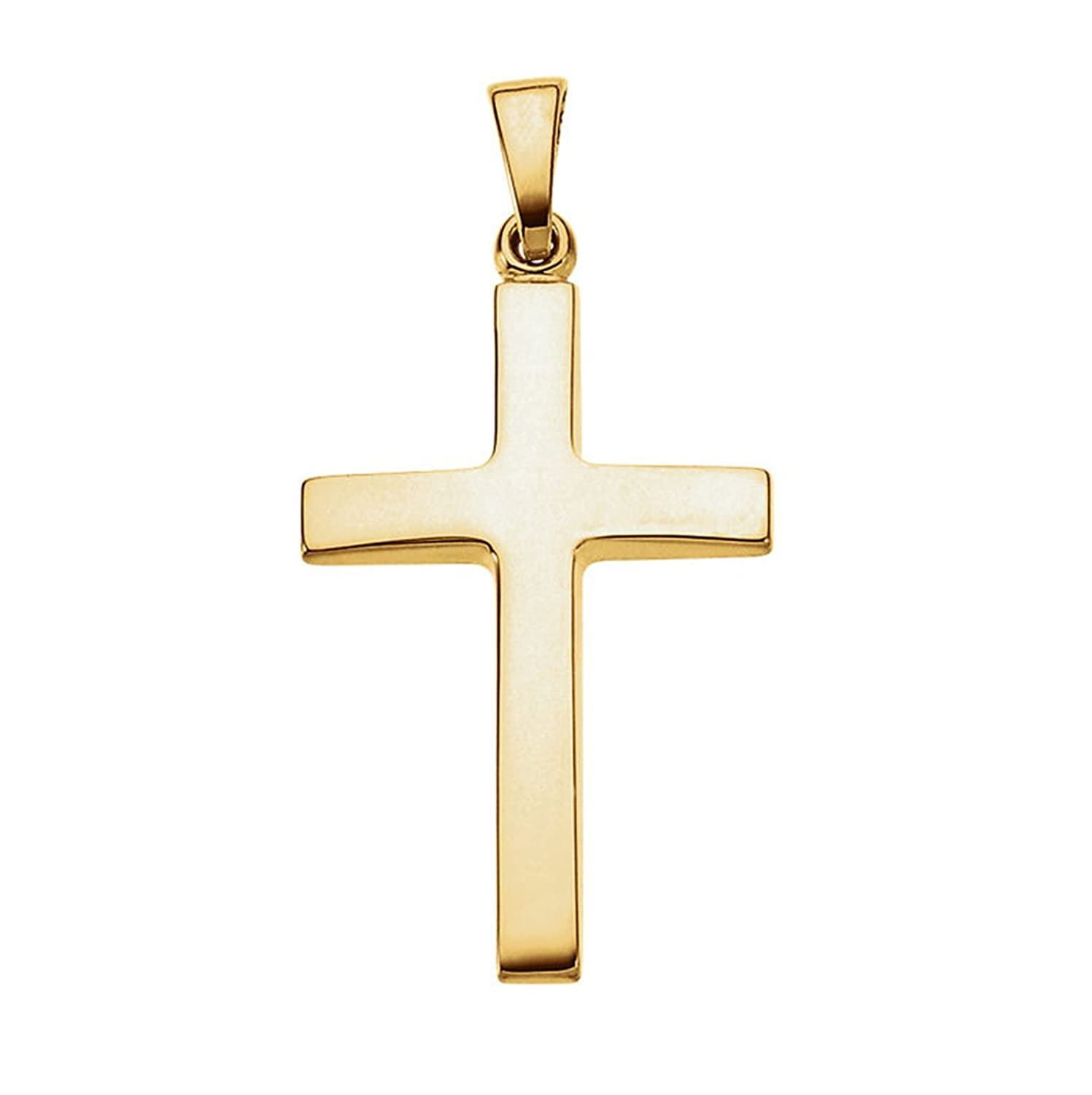 14K Gold Smooth Tapered Cross Pendant, 1.1 In (29mm)