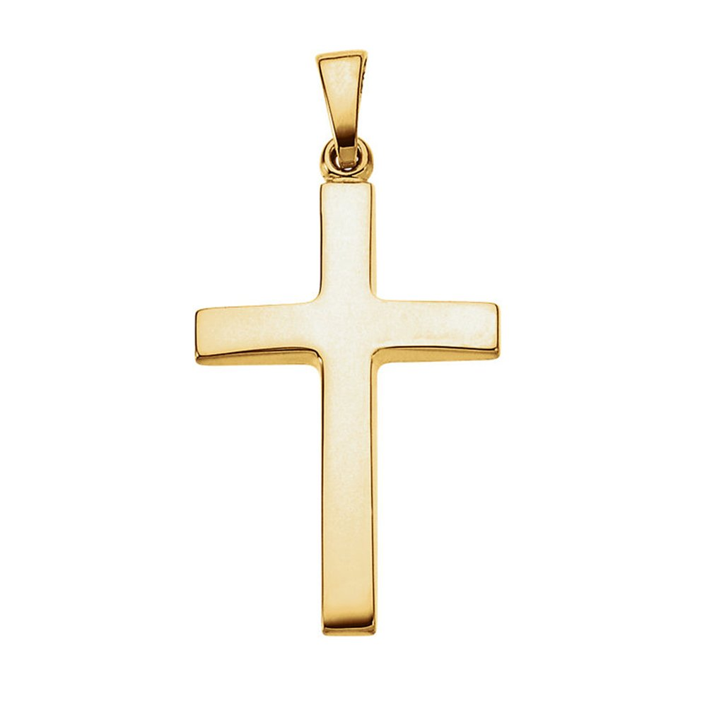 14K Gold Smooth Tapered Cross Pendant, 1.1 In (29mm) (yellow-gold)