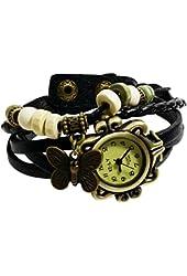 Elite Charm® Butterfly Pendant Quartz Fashion Weave Wrap Leather Bracelet Womens Wrist Watches
