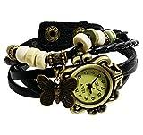 Elite Charm Butterfly Pendant Quartz Fashion Weave Wrap Leather Bracelet Womens Wrist Watches (Black)