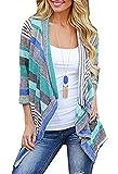 Tomlyws Women's Fashion Geometric Print Drape Front Cable Knit Cardigan Blue XXL
